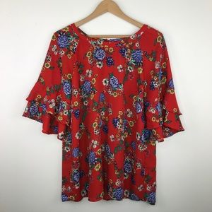 Faith and glory red floral top size 3X